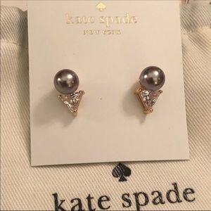 Kate Spade NWOT Triangle Gold/Grey Stud Earrings